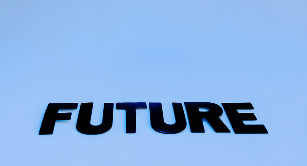 """word """"future"""" in black capital letters on a blue background"""
