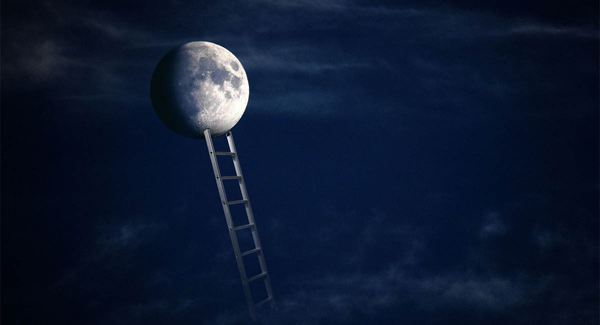 Ladder reaching to the moon