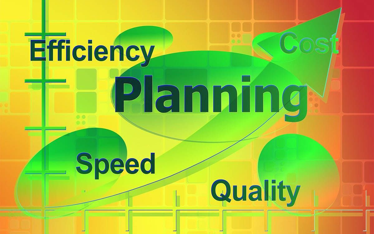 "Color illustration of graph with the words, ""Efficiency"", ""Planning"", ""Speed"", and ""Quality"""