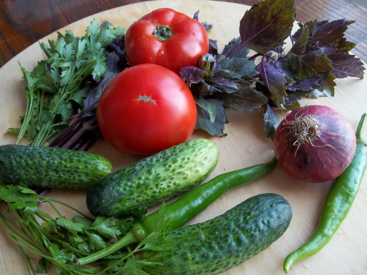 Ingredients for a Georgian salad