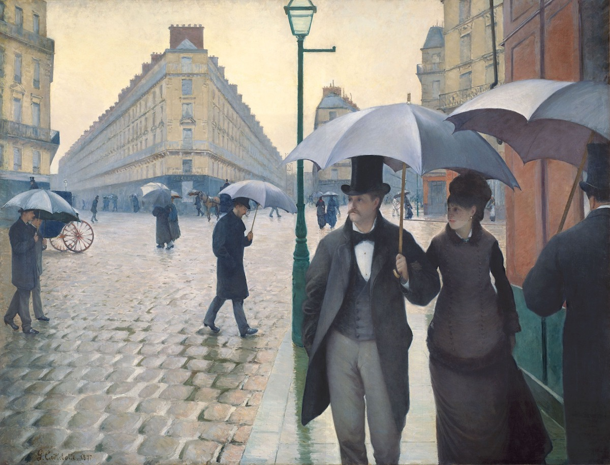 19th-century painting by Caillebotte of people walking in Paris in the rain