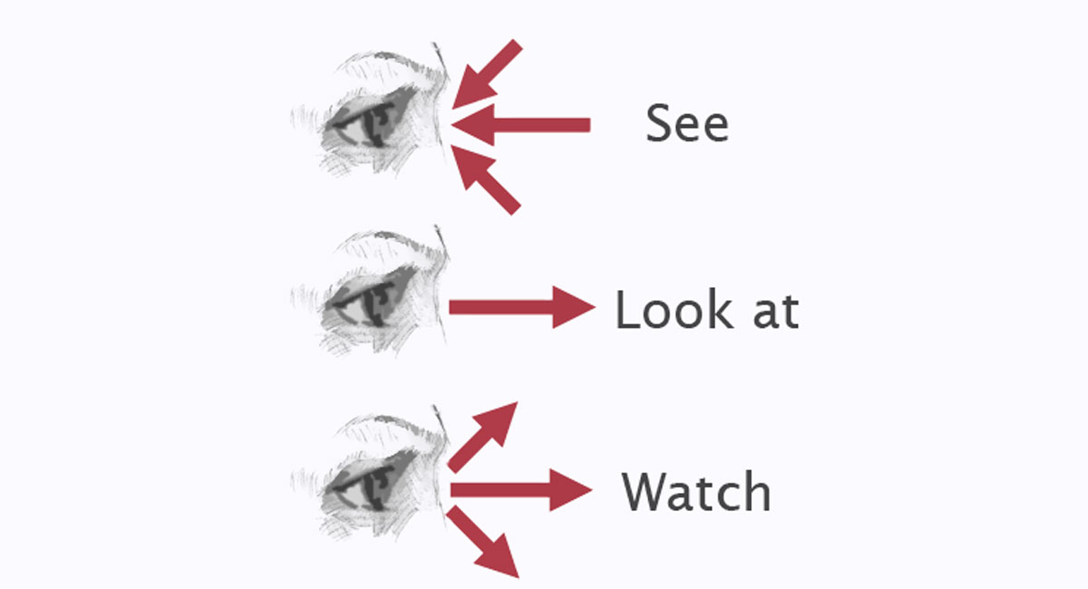 "A comparison of the English verbs ""look at"", ""watch"" and ""see""."