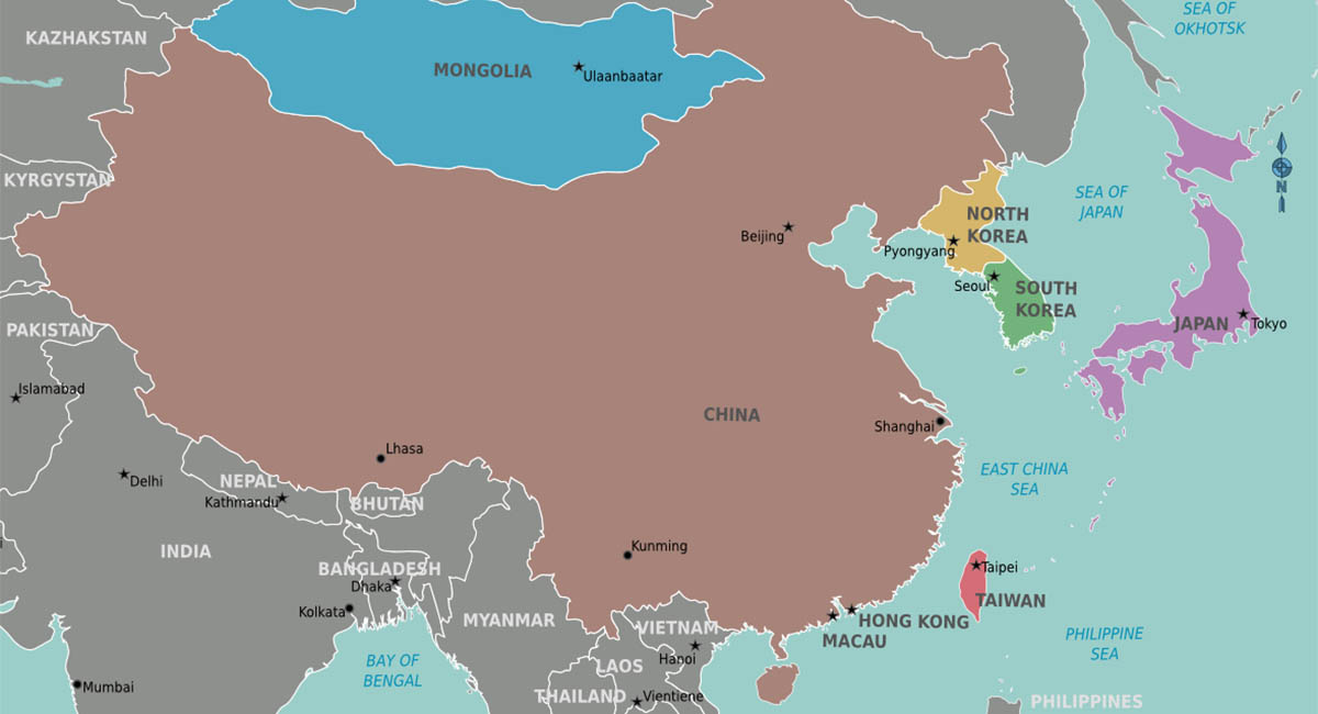 simple map, East Asia, color