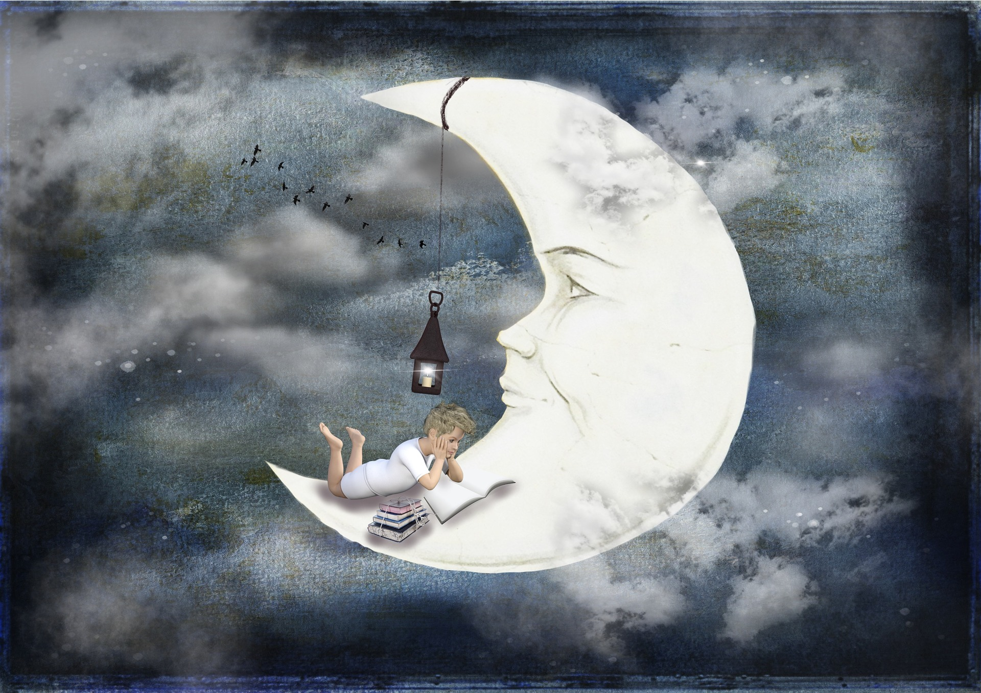 Illustration of boy reading a book on the moon