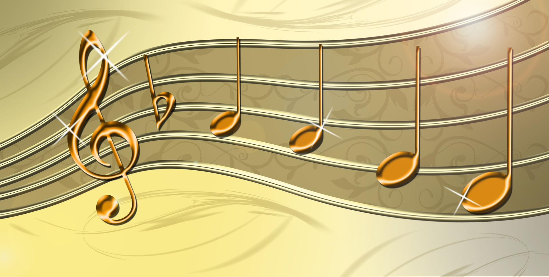 Gold music clef and notes on staff