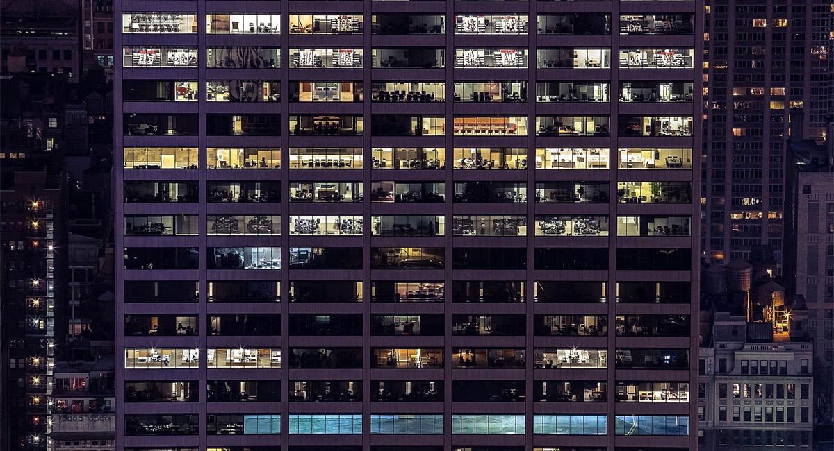Exterior of high-rise office building at night