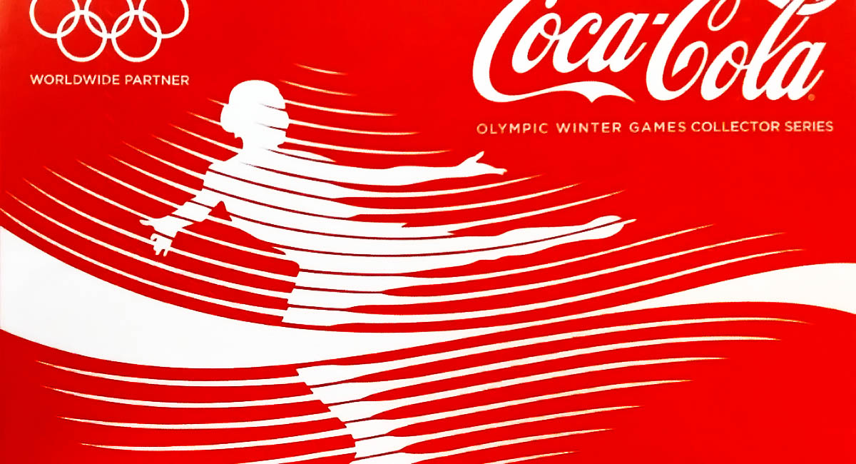 Olympics ad, Coca-Cola, stylized figure skater, white on red