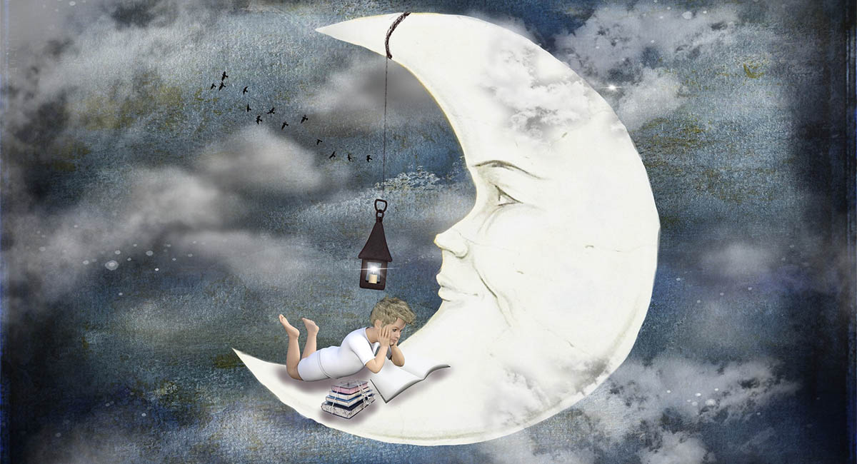 Illustration of a child lying on a crescent moon, reading