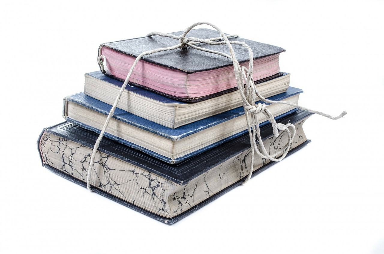 Stack of books tied with twine