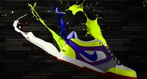 Athletic shoe dissolving into paint splatters