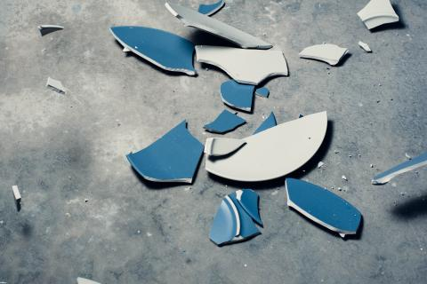 Broken plates on the floor