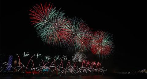 Fireworks in front of the Emirates Palace Hotel, UAE