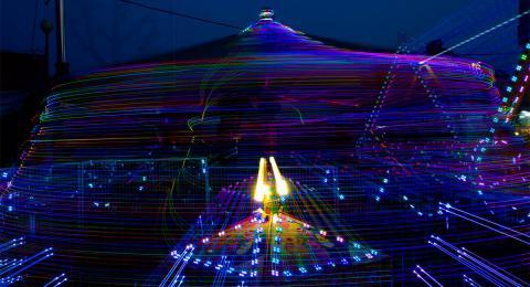 long exposure, color, carnival ride at night