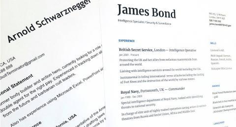 Fictional CVs of Arnold Schwarznegger and James Bond