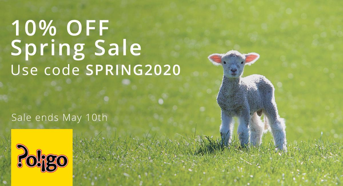 A lamb in a green field in spring.