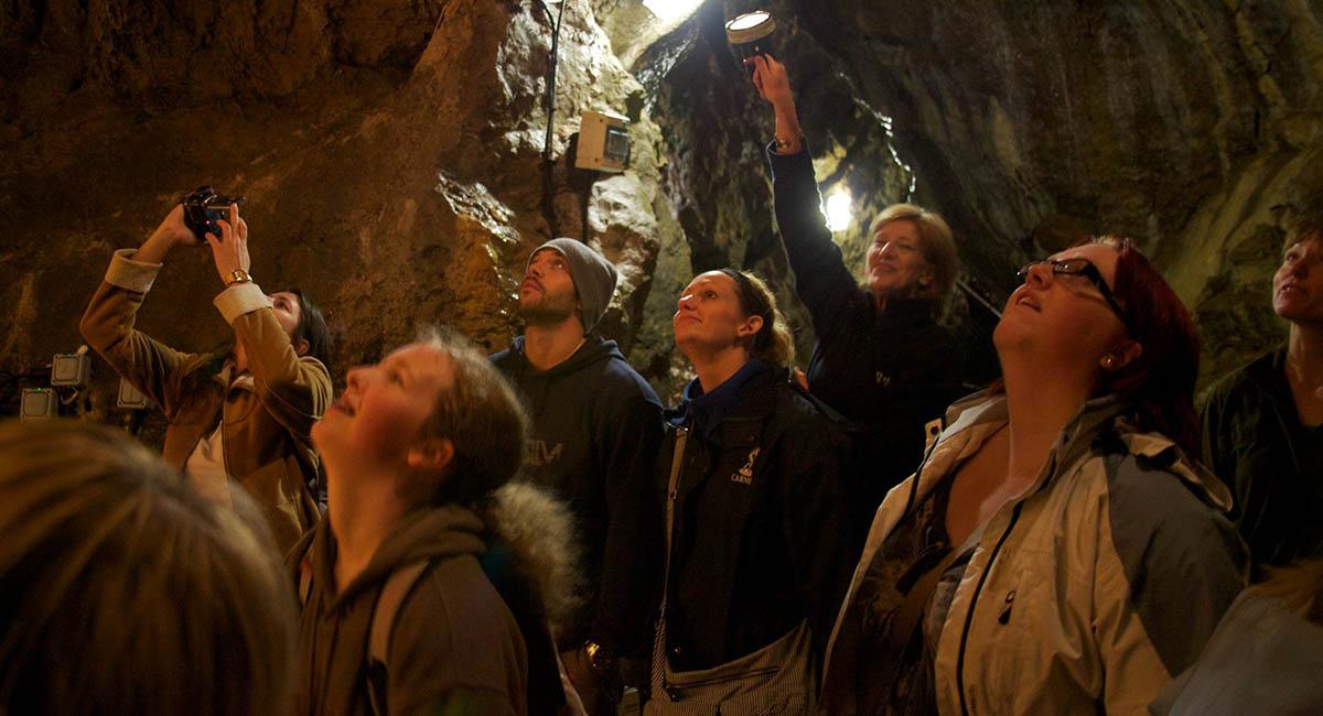 Tourists inside a cave
