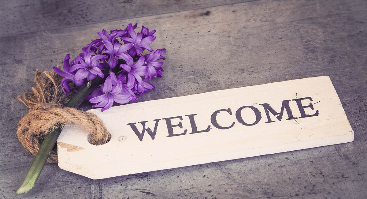 """Hyacinth and tag with word """"welcome"""""""